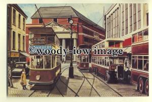 tm5591 - Coventry City Transport Tram & Buses at Broadgate 1930's - art postcard