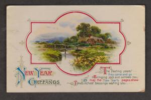 New Year Greetings With Cottage - Unused c1920