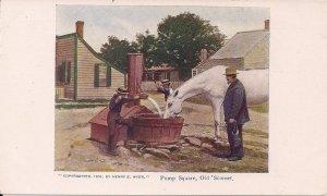 Nantucket MA, Sconset Town Square, Water Pump, Siasconset, 1903, White Horse