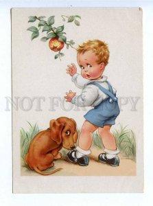 195896 GERMANY boy & dachshund dog Vintage postcard