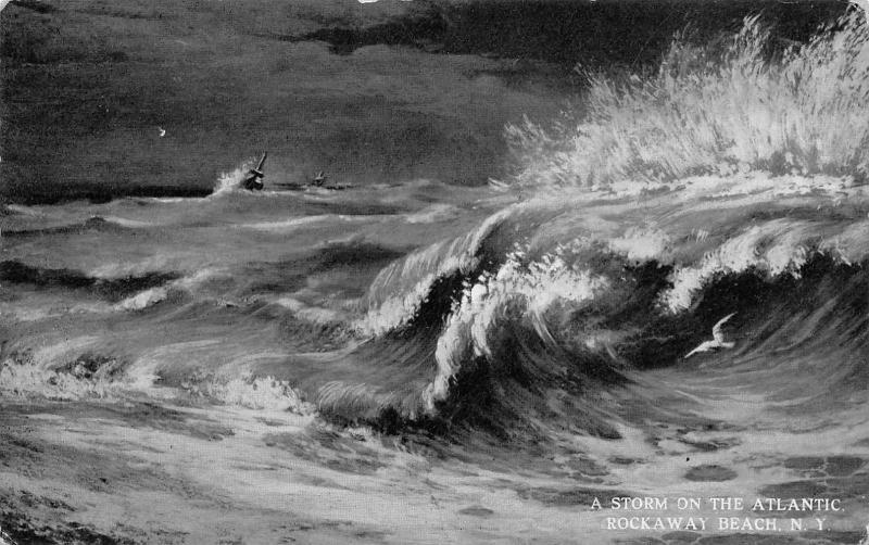 Rockaway Beach New York Storm On The Atlantic Ocean Ship Sea Gull