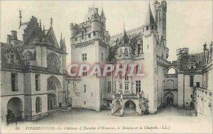 Postcard Ancient castle Pierrefonds on the staircase of honor the keep and ch...