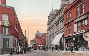 OLDHAM LANCASHIRE UK HIGH STREET~L & Y RAILWAY STATION SIGN POSTCARD