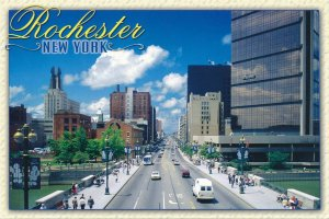 Rochester NY, New York - Main Street looking West from Genesee River Bridge