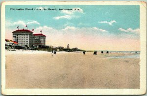 1914 Seabreeze, Florida Postcard CLARENDON HOTEL from the Beach Daytona c1920s