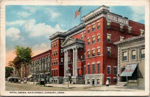 Danbury Connecticut~Main Street~Hotel Green~Garage~Ye Gift Shop~Cafe~Lunch~1921
