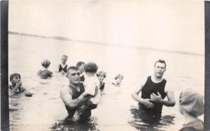 E60/ Indian Lake Ohio Real Photo RPPC 2 Postcards Swimmers Beach