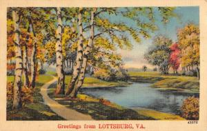 Lottsburg Virginia Greetings Lake Side Road Linen Antique Postcard K23038