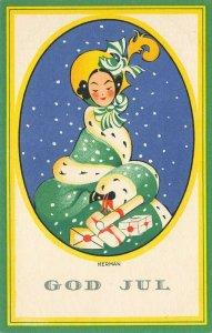 LP73  Art Deco Artist Nerman Swedish  Christmas Holiday Vintage Postcard
