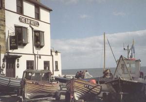 Fishing Boats Anchored at Robin Hoods Bay Hotel Postcard