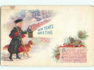 Pre-Linen New Year DOG BY MAN CARRYING LANTERN AB2466