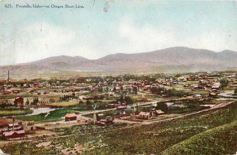 Pocatello Idaho~City Panorama~On Oregon Short Line~1907 Postcard