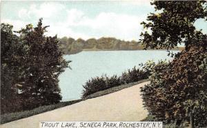 Rochester New York~Seneca Park Scene along Trout Lake~c1910 Postcard