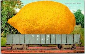 1910s California EXAGGERATION Postcard Giant LEMON on Rail Car - Mitchell Unused