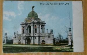 Detroit Michigan~Waterworks Park Gate~Green Dome~Iron Fences~c1905 Glitter Pc