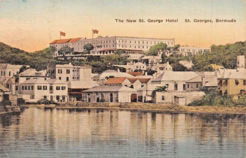 ST GEORGES BERMUDA~T GEORGES HOTEL-ALBERTYPE HAND COLORED PHOTO POSTCARD 1930s