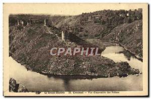 Old Postcard Crozant View of Ruins & # 39ensemble