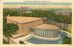 Buffalo New York~Art Deco Kleinhans Music Hall and Pool~1944 Postcard