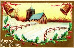 Vtg Unbenutzt Postkarte 1910s Ein Frohe Weihnachten Mit Vergoldet Kirche Schnee