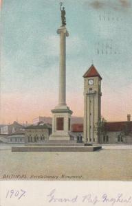 Revolutionary Monument Mt Royal B&O Train Station Baltimore MD Maryland pm 1909