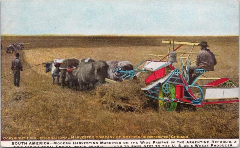 Argentina South America Harvesting Machines Harvester Co. Chicago Postcard E17