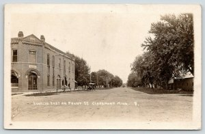 Claremont Minnesota~Looking East Front Street~State Bank~Garage Sign~1918 RPPC