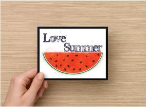 Single Copy(1) Digital Art Watercolor Watermelon All Occasion Handmade Postcards