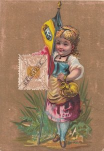 Trade Card (TC): Stamp & Girl carrying Flag , 1880-90s ; BELGIUM #2