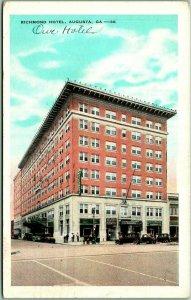 Augusta, Georgia Postcard RICHMOND HOTEL Building / Street View / 1932 GA Cancel