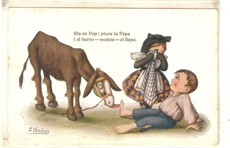 J. Ibañez. Caricature. Donkey licking feet after accident Vintage Spanish PC