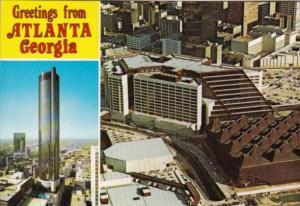 Georgia Greetings From Atlanta The Peachtree Plaza and Omni International Com...