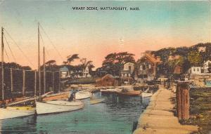 Mattapoisett MA Wharf Scene Boats Postcard