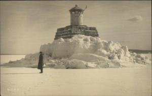 Belfast ME Lighthouse in Winter c1910 Real Photo Postcard