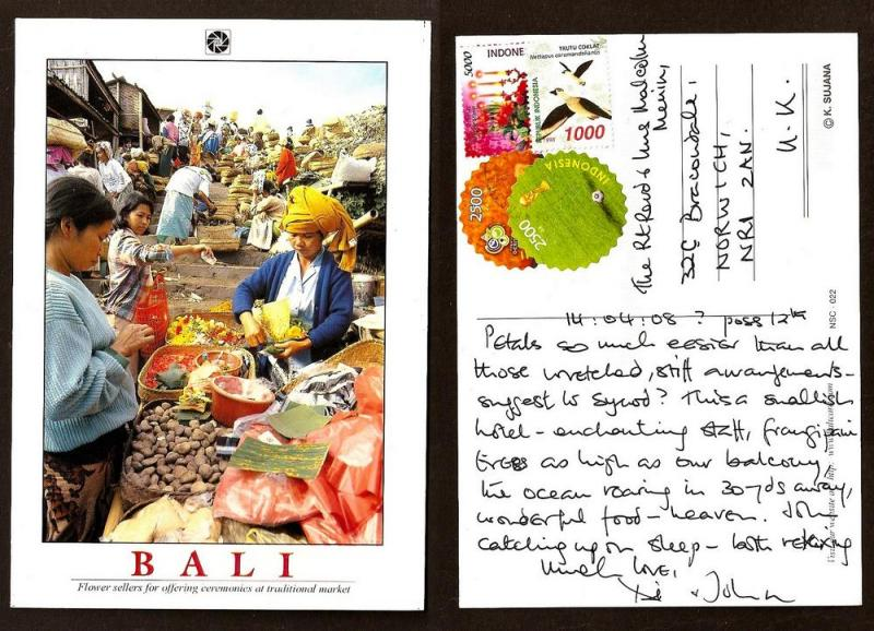 INDONESIA LARGE POSTCARD-STAMP- TRADITIONAL MARKET-BALI