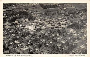 Chico California~Airview of Business District~Homes~1940s B&W Postcard