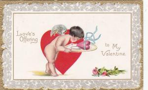 TUCK : Cherub w/ plate carrying a heart , 1910
