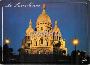 Postcard Modern Paris The Basilica of Sacre Coeur in Montmartre ILLUMINATED