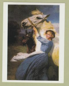 Postcard FARM GIRL WITH MARE AND FOAL Lucy Kemp Welch Reproduction