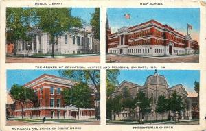 Elkhart Indiana~Library~High School~Court House~Presbyterian Church~1940s PC