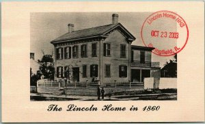 Springfield, Illinois Postcard THE LINCOLN HOME IN 1860 w/ 2003 Rubber Stamp