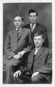 Ohio~Portrait of 3 Brothers Cleugenpeel?~Dougherty's Studio Dayton RPPC