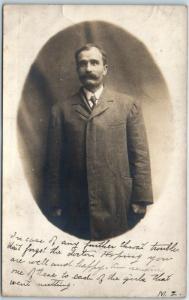 Ottawa Illinois RPPC Real Photo Postcard Charles Roseburg Studio Portrait 1907