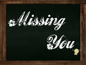 Set of 6  Postcards Blackboard Greetings - Missing You - Simple Expression
