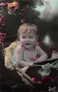 Vintage Baby in cart, bebe, flowers, Fotocelere