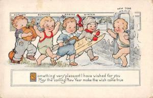 New Years Greetings Children Seasons of the Year Whitney Postcard JB627606