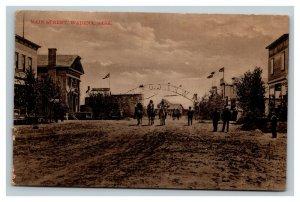 Vintage 1900's Photo Postcard Main Street Wadena Saskatchewan Men on Horses