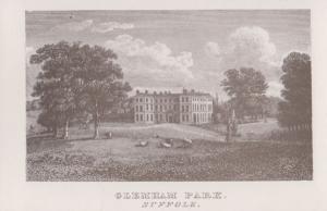 Glemham Park Suffolk Manor Painting Postcard