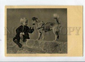 3087350 Charming Boy & SPITZ Dog in Collar Old Photo PC