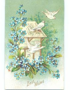 Pre-Linen WHITE DOVE BIRDS ON THE ROOF WITH FORGET-ME-NOT FLOWERS HJ4497