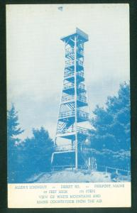 Allen's Lookout Tower FREEPORT MAINE White Mountains ME Vintage Postcard